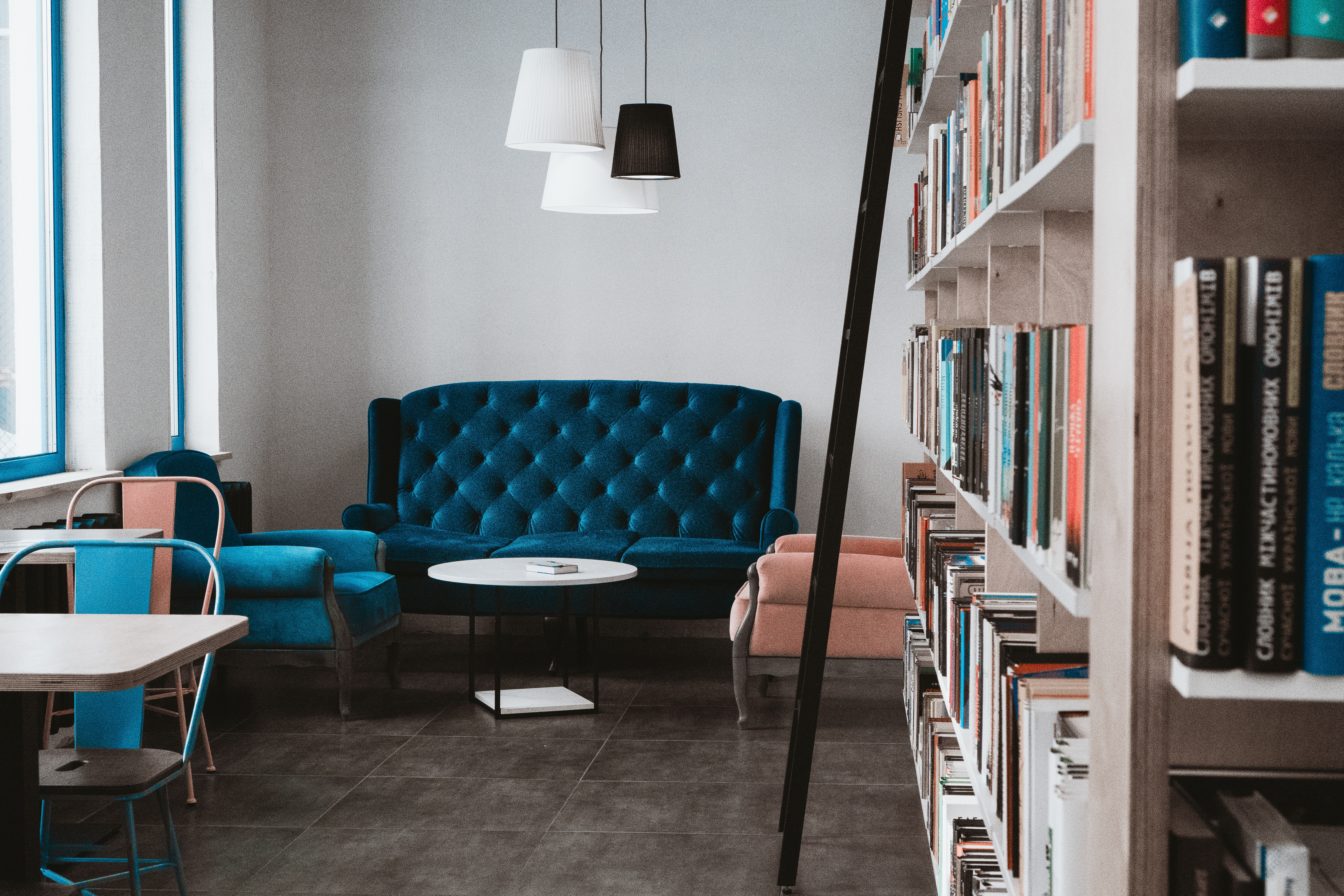 Blue chair with bookshelf