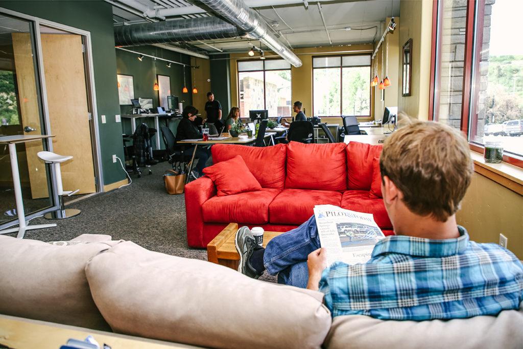 Coworking lounge at Ski Locker