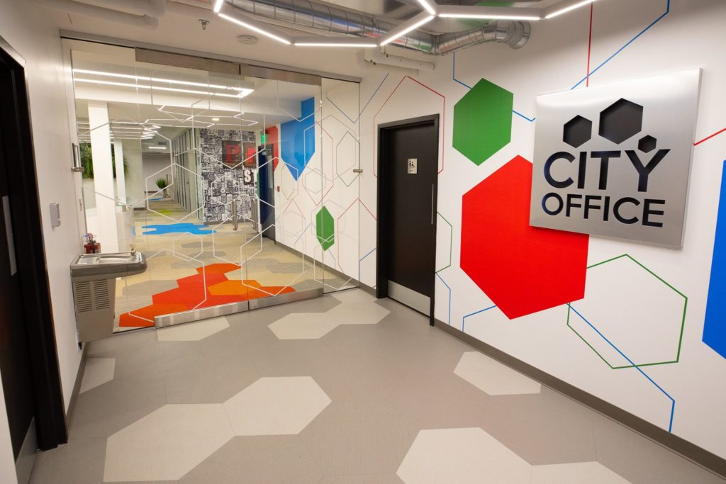 Coworking space lobby at City Office