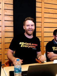 Brian wearing a #BrianLovesEveryone