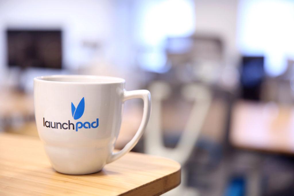 Photo of mug with launchpad logo
