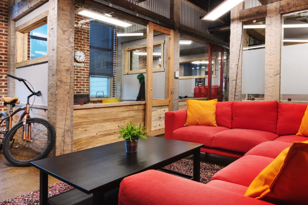 A lounge area at CO Workspace